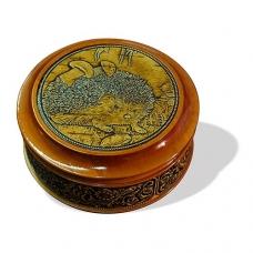 Шкатулка деревянная круглая с накладками из бересты Ежик 105х49