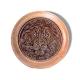 Шкатулка деревянная круглая с накладками из бересты Лев 58х39