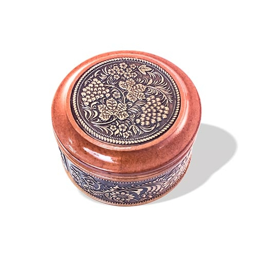 Шкатулка деревянная круглая с накладками из бересты Хохлома 70х46
