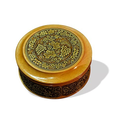 Шкатулка деревянная круглая с накладками из бересты Хохлома 95х48