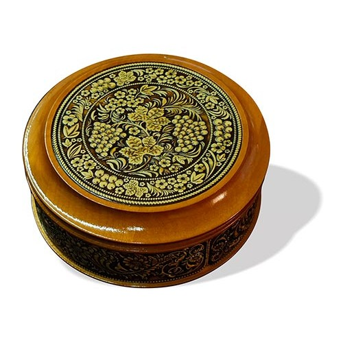 Шкатулка деревянная круглая с накладками из бересты Хохлома 105х49