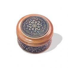Шкатулка деревянная круглая с накладками из бересты Орнамент 58х39