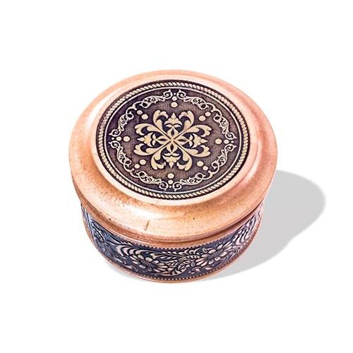 Шкатулка деревянная круглая с накладками из бересты Орнамент 70х46