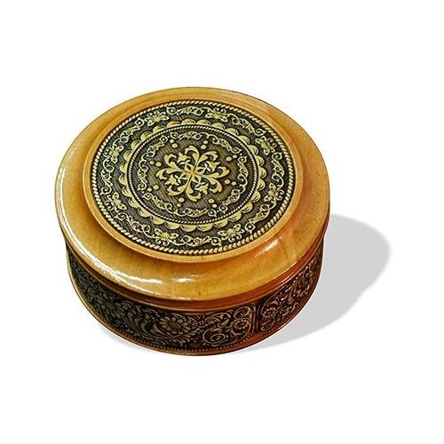 Шкатулка деревянная круглая с накладками из бересты Орнамент 95х48