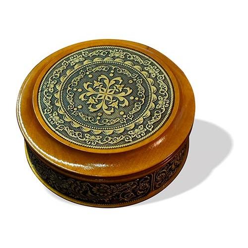 Шкатулка деревянная круглая с накладками из бересты Орнамент 105х49