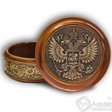 Шкатулка деревянная круглая с накладками из бересты Герб России 105х49