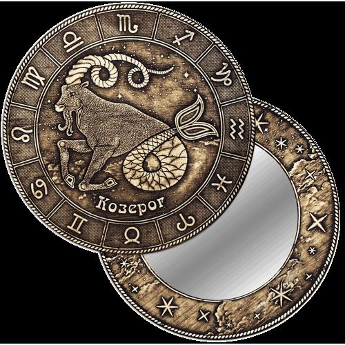 """Зеркало  круглое """"Козерог"""" (береста, тиснение, дерево) З-22505"""
