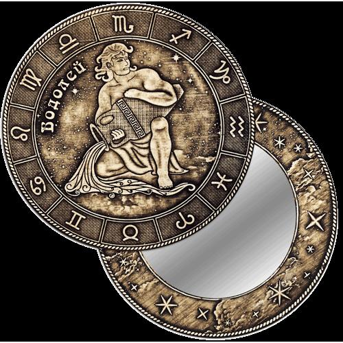 """Зеркало  круглое """"Водолей"""" (береста, тиснение, дерево) З-22506"""