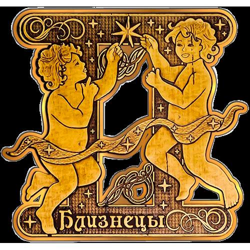 """Магнит из бересты вырезной """"Близнецы"""" золото"""