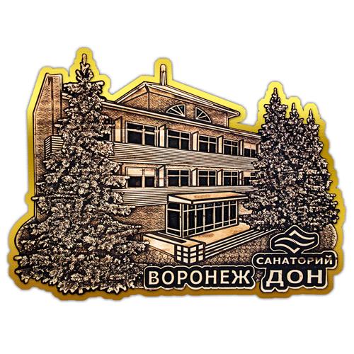 Магнит из бересты вырезной Воронеж санаторий Дон (Золото)