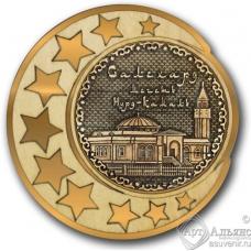 Магнит из бересты Салехард-Мечеть Нурд-Камал месяц золото